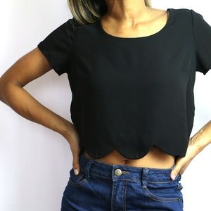 Black Crop Top w/ Scallop Pattern Cut
